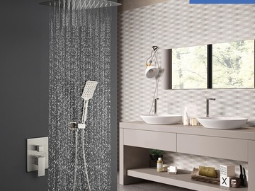 Prefabricated Materials: Rainlex Brush Nickel Ceiling-Mounted Dual Functions Shower System
