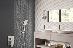 Materials and Products: Rainlex Brush Nickel Ceiling-Mounted Dual Functions Shower System