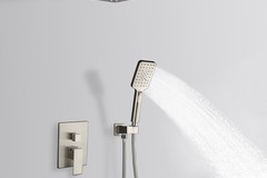 Materials and Products: Rainlex Brush Nickel Wall-Mounted Dual Functions Shower 12""