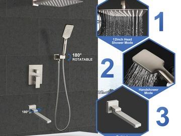 Prefabricated Materials: Rainlex Brush Nickel Wall-Mounted Three Functions Shower System