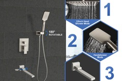 Materials and Products: Rainlex Brush Nickel Wall-Mounted Three Functions Shower System
