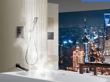 Prefabricated Materials: Rainlex Matt Black Wall-Mounted Three Functions Tub Shower System