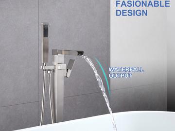 Materials and Products: Rainlex Freestanding Bathtub Filler Faucet Floor Mount 02 BN