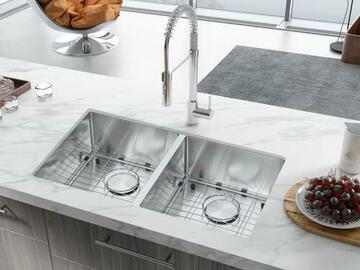 Prefabricated Materials: 32 in. Undermount 50/50 Double Bowls Stainless Steel Kitchen Sink