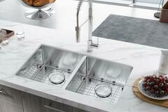 Materials and Products: 32 in. Undermount 50/50 Double Bowls Stainless Steel Kitchen Sink
