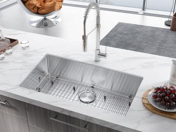 Prefabricated Materials: 32 in. Undermount Single Bowls Stainless Steel Kitchen Sink